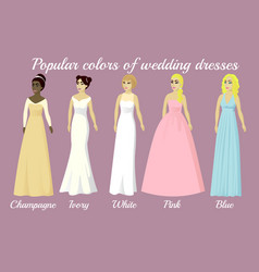 Wedding dresses of popular colors vector