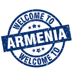 Welcome to armenia blue stamp vector