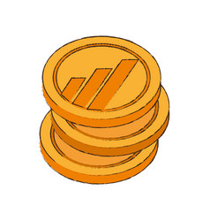 Worldcoin cryptocurrency stack icon vector
