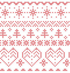 Xmas seamless pattern inspired by nordic cross vector image vector image