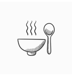 Bowl of hot soup with spoon sketch icon vector