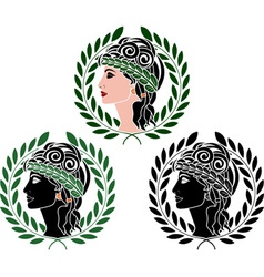 profiles of greek woman second variant vector image