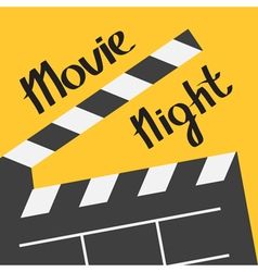 Big open clapper board movie night text lettering vector