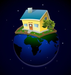 Planet with house and garden at night vector