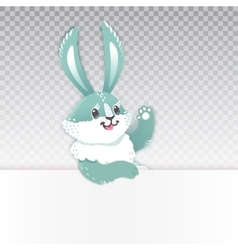 Cute rabbit cartoon waving hand vector image