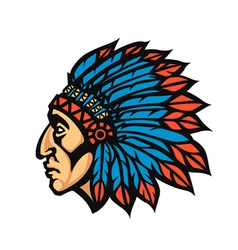 Native american indian chief head profile mascot vector