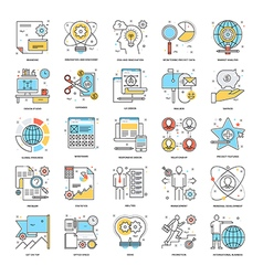 Flat color line icons 6 vector