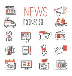 Journalism media hot tv news outline black vector