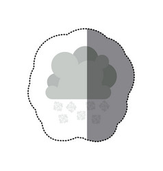 sticker monochrome cumulus cloud with snowflakes vector image