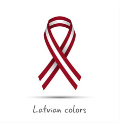 Modern colored ribbon with the latvian colors vector