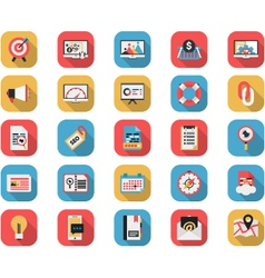Flat seo and web icons set vector