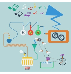 Music production process concept vector