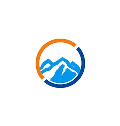 High mountain icon abstract travel logo vector