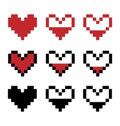 Retro game pixel hearts vector