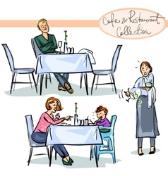 Cafe and restaurant collection - hand drawn scenes vector