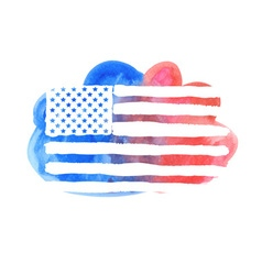 Watercolor american flag vector