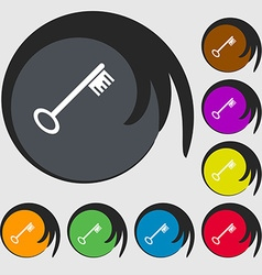 Key icon sign symbols on eight colored buttons vector