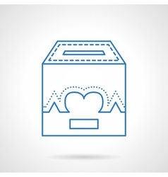 Charity box flat line icon vector