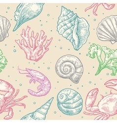 Seamless pattern sea shell coral crab and shrimp vector