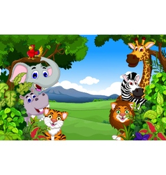 Funny animal cartoon with forest background vector