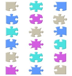 Jigsaw puzzle pieces set vector