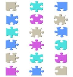 Jigsaw puzzle pieces set vector