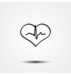 Abstract heart and ecg vector image vector image
