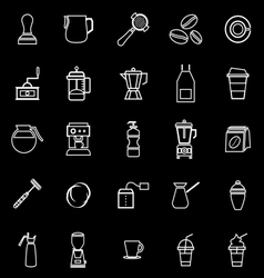 Barista line icon on black background vector