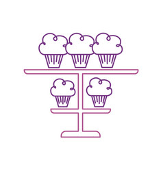 Birhtday cupcakes on tiered platter decoration vector