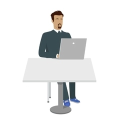 Business Man Working with Laptop in Office vector image