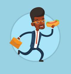 Businessman eating hot dog on the run vector