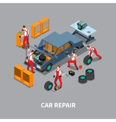 Car repair auto center isometric composition vector