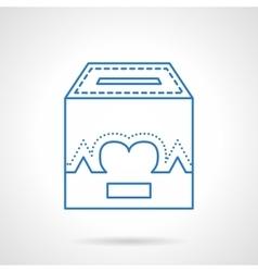 Charity box flat line icon vector