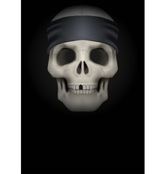 Dark background of skull with bandana on head vector