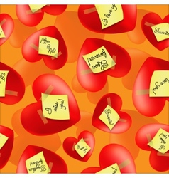 Hearts with stickers and inscriptions valentines vector image vector image