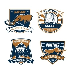 Hunting safari club icons hunter emblems vector