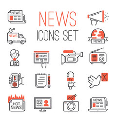 Journalism media hot tv news outline black vector