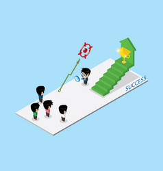 leader holding a megaphone with team and stair vector image