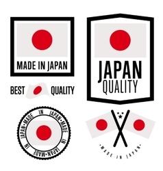 Made in Japan label set national flag vector image