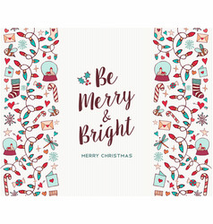 merry christmas hand drawn pattern greeting card vector image vector image