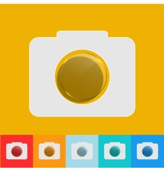 Modern camera icon with circle glass set vector