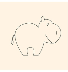 One line cute hippo vector
