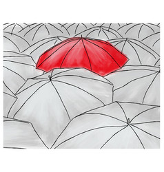 Red umbrella in the grey umbrellas - pattern vector