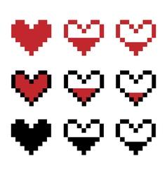 Retro game pixel hearts vector
