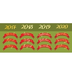 Set red labels with hand-drawn lettering on green vector image vector image