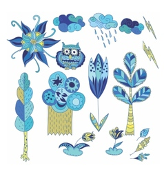 Spring Doodle Design Elements Set vector image vector image