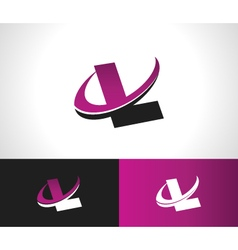 Swoosh Alphabet Icon L vector image