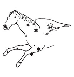 The winged horse vintage vector