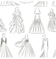 Wedding dress set pattern vector