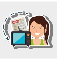 woman tv reportage news vector image